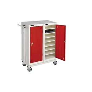 Mobile Trolley - Low two  Door sixteen Shelf Laptop Locke
